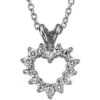 Platinum 1/5 CTW Diamond Heart Pendant