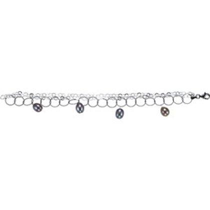"Freshwater Cultured Black Pearl 7.5"" Bracelet"