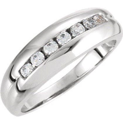 14K White Men's 3/8 CTW Diamond Ring