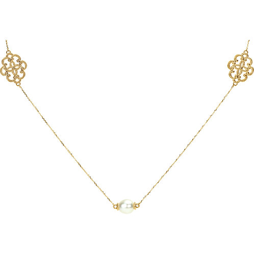"""14K Yellow Pearl Station Necklace 40"""""""