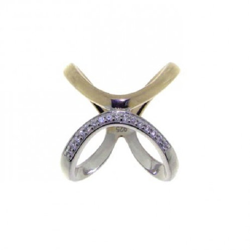 Sterling Silver Rhodium & Rose Gold Plated CZ Open Ring