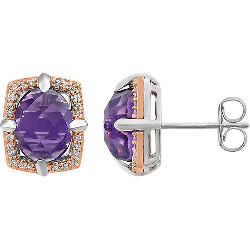 Sterling Silver Rose Gold Plated Amethyst & 1/6 CTW Diamond Earrings