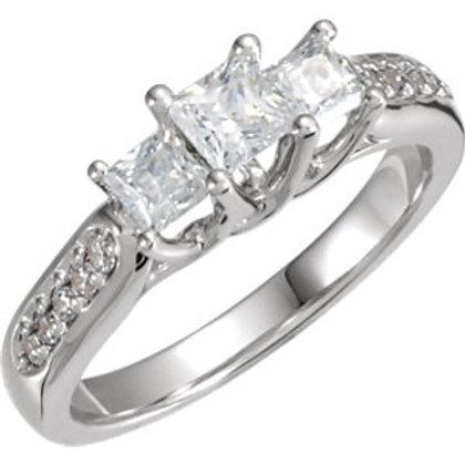 14K White 1 1/8 CTW Diamond Three-Stone Accented Anniversary Band