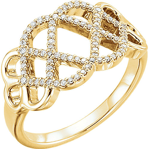 14K Yellow 1/5 CTW Diamond Woven Ring
