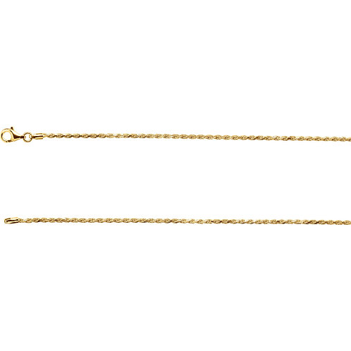 "18K Yellow Vermeil 16"" Diamond Cut Rope Chain"
