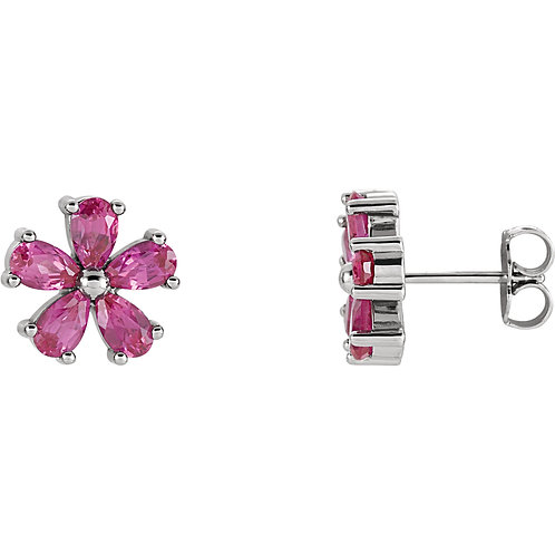 14K White Chatham® Created Pink Sapphire Earrings