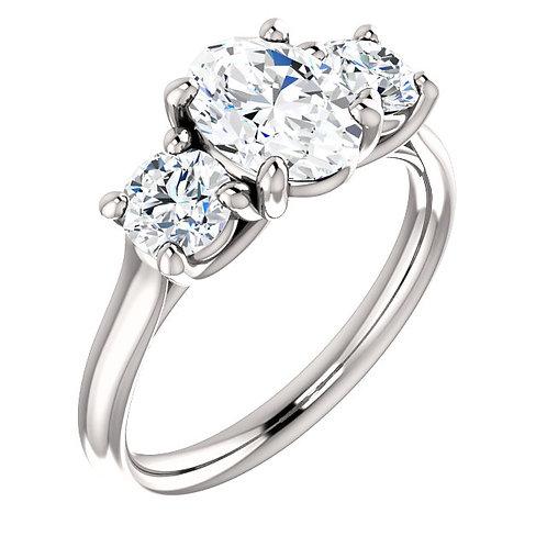 Charles & Colvard Moissanite® Three-Stone Engagement Ring