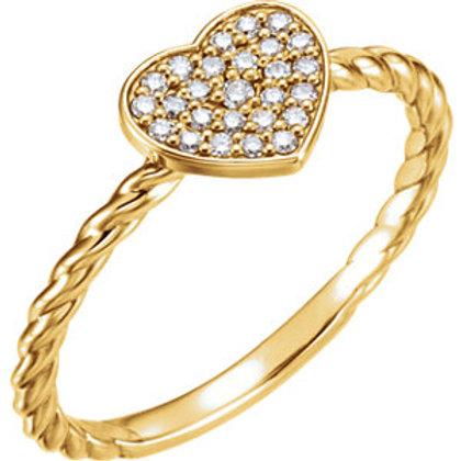 14K Yellow 1/8 CTW Diamond Heart Rope Ring