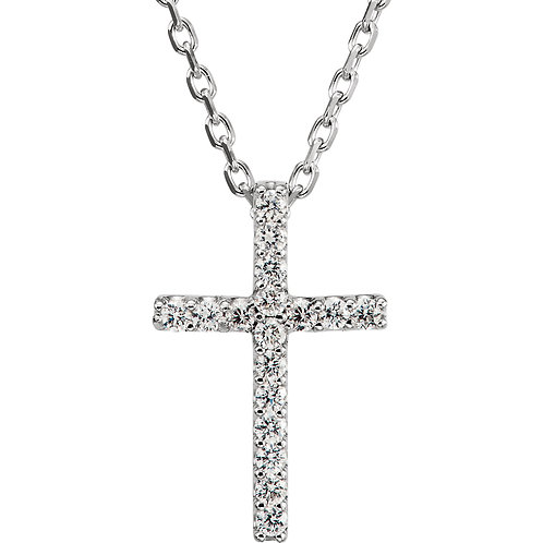 "14K White .085 CTW Diamond Cross 16"" Necklace"