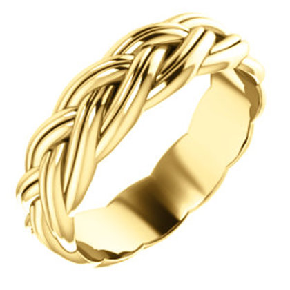 14K Yellow Gold Sculptural-Inspired Relief Pattern Band