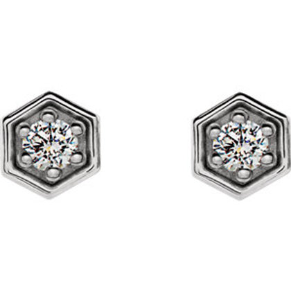 14K White Gold 1/8 CTW Diamond Hexagon Stud Earrings