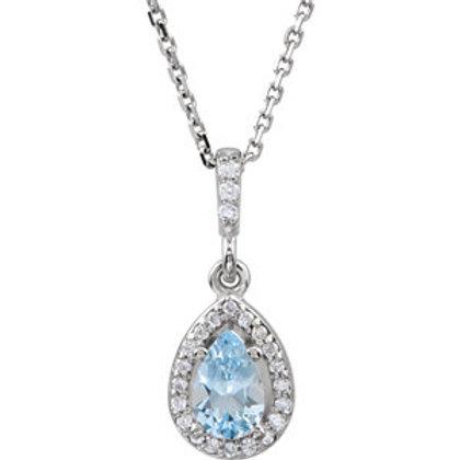"14K White Aquamarine & .07 CTW Diamond 18"" Necklace"