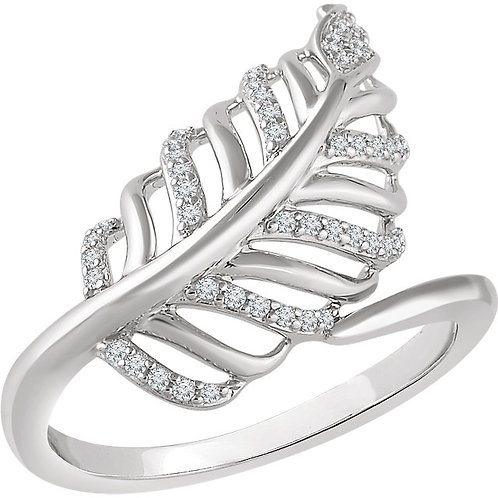 14K Rose 1/5 CTW Diamond Leaf Ring