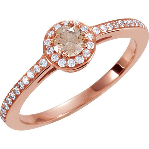 14K Rose Gold 3/8 CTW Diamond Engagement Ring