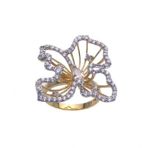 Sterling Silver Gold Plated CZ Open Flower Ring