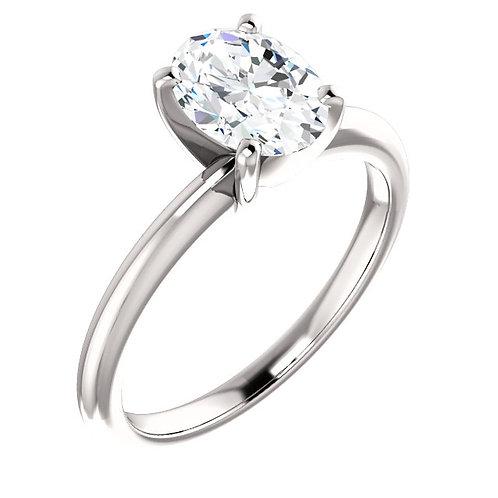 14K White Gold 8x6mm Oval Moissanite Engagement Ring