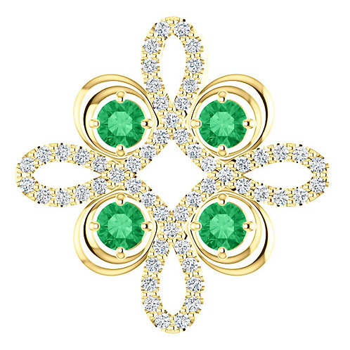 14K Yellow Gold Emerald & 1/6 CTW Diamond Clover Pendant