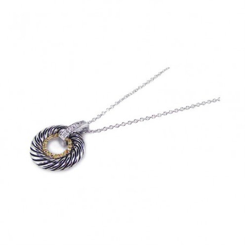 Sterling Silver Clear CZ Gold and Rhodium Plated Twisted Circle Pendant Necklace