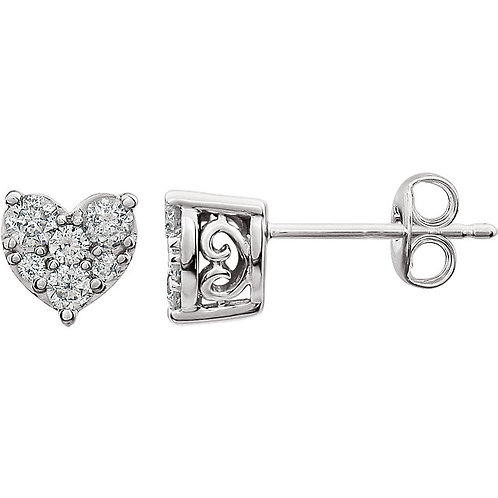 14K White 3/8 CTW Diamond Heart Earrings