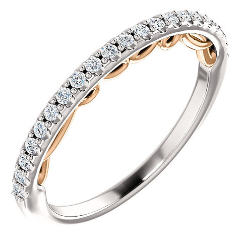 14K White & Rose 1/6 CTW Diamond Matching Band