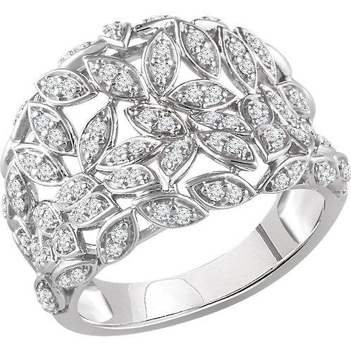 14K White Gold 1/2 CTW Diamond Floral-Inspired Ring