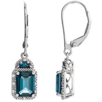14K White London Blue Topaz & .06 CTW Diamond Earrings