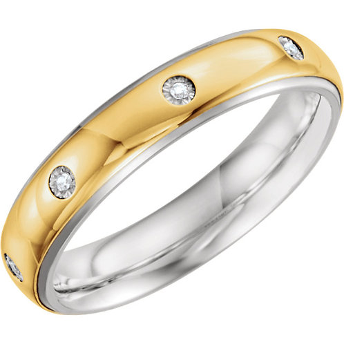 Sterling Silver & 10K Yellow 5mm .05 CTW Diamond Band Size 11