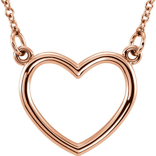 "14K Rose Gold 15.75x17mm Heart 16"" Necklace"
