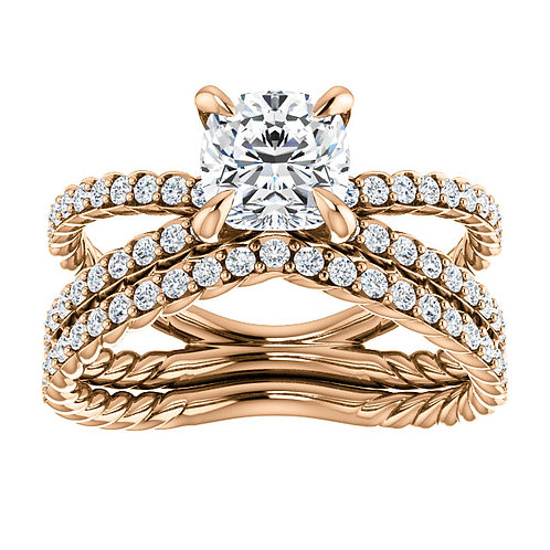 14K Rose Gold 6x6mm Cushion Engagement Ring Mounting