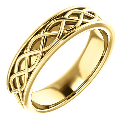 14K Yellow Gold Woven Design Wedding Band
