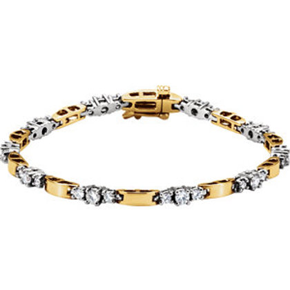 14K Two-Tone 1 7/8 CTW Diamond Line Bracelet