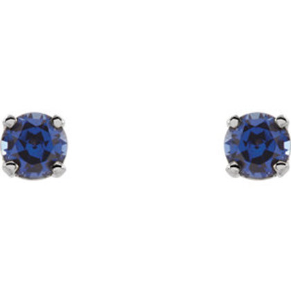 14K White Chatham® Lab-Grown Sapphire Youth Earrings