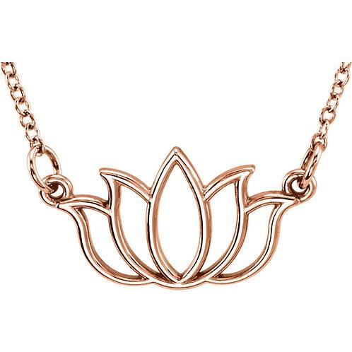 """14K Rose Gold Lotus 16-18"""" Necklace"""