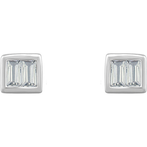 14K White Gold 1/2 CTW Diamond Baguette Stud Earrings