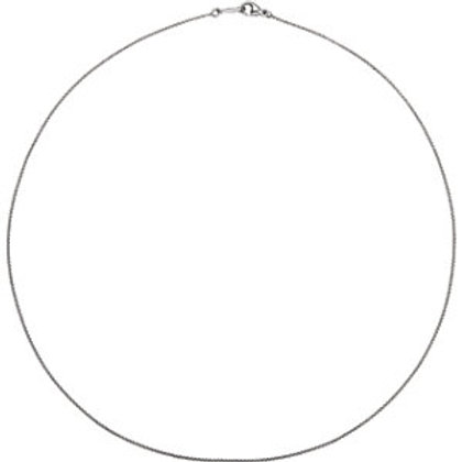 """Platinum 1mm 16"""" Rolo Chain with Lobster Clasp"""