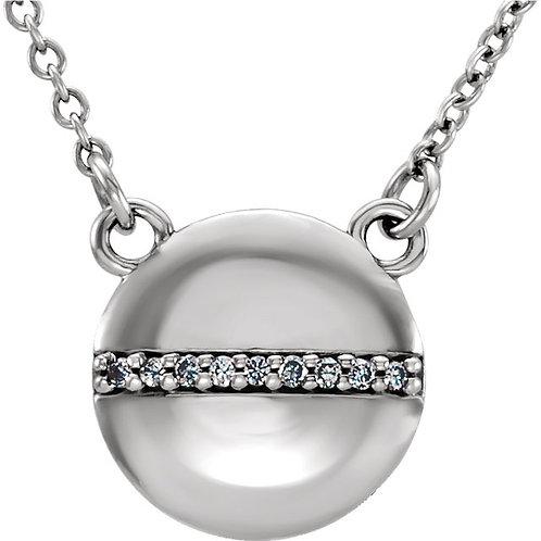 "14K White Gold .025 CTW Diamond Circle 16"" Necklace"