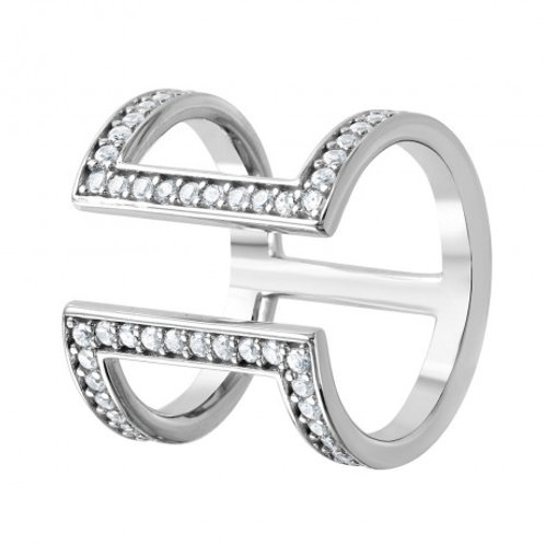 Sterling Silver Rhodium Plated CZ Double Bar Ring
