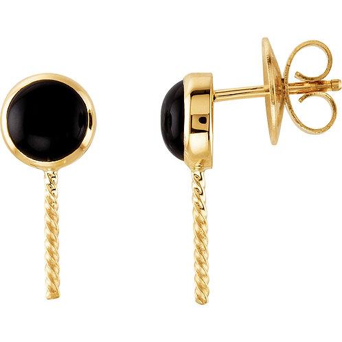 14K Yellow Onyx Semi-set Earrings for Pearls