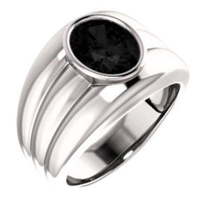14K White Onyx Men's Ring