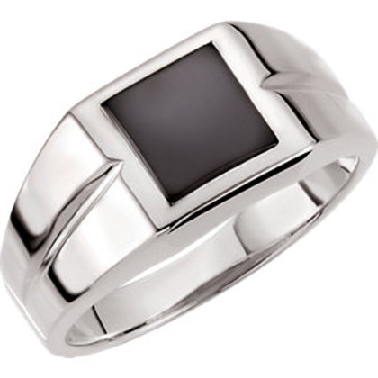 14K White 8mm Square Onyx Ring