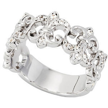 Platinum 1/4 CTW Diamond Fleur-De-Lis Anniversary Ring