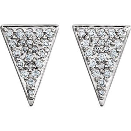 14K White Gold 1/3 CTW Diamond Triangle Earrings