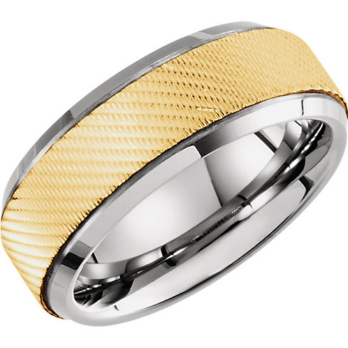 Tungsten & 14K Yellow 8mm Grooved Ridged Band