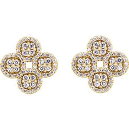 14K Yellow Gold 1/2 CTW Diamond Clover Cluster Earrings