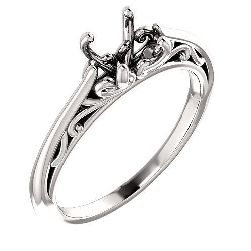 14K White Gold 6.5mm Round Engagement Ring Mounting