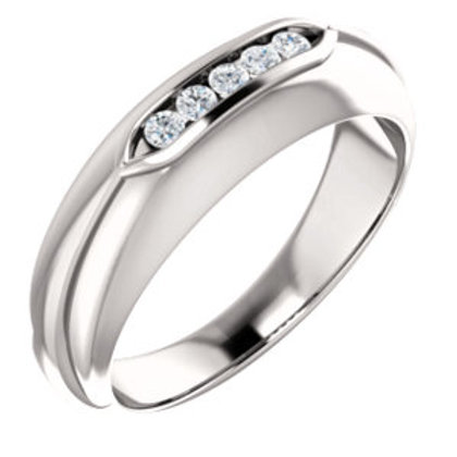 14K White Gold 1/6 CTW Diamond Men's Ring