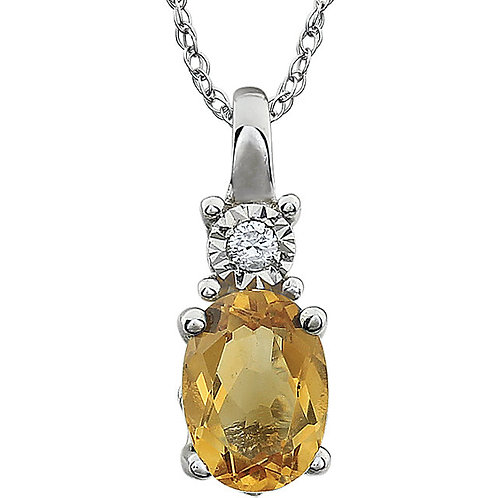 "14K White Citrine & .02 CTW 18"" Necklace"