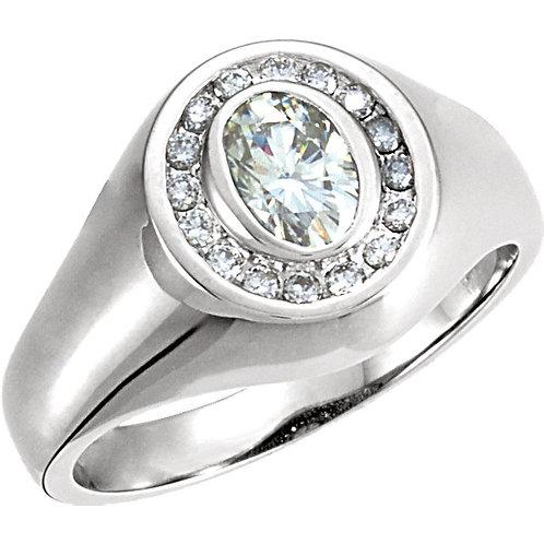 14kt White 7x5mm Oval Forever Classic™ Moissanite & 1/4 CTW Diamond Ring