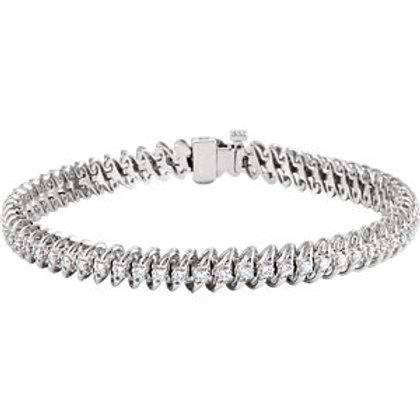 "14K White 1 1/4 CTW Diamond Line 7.25"" Bracelet"