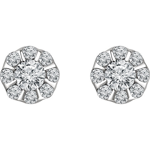 14K White Gold 3/8 CTW Diamond Halo-Style Earrings